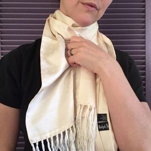 Ralph Lauren Woven Silk Tasseled Scarf (Unisex)